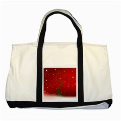 Christmas Modern Day Snow Star Red Two Tone Tote Bag