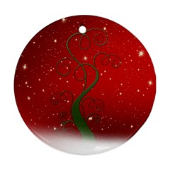 Christmas Modern Day Snow Star Red Round Ornament (Two Sides)
