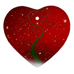 Christmas Modern Day Snow Star Red Heart Ornament (Two Sides)