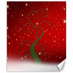 Christmas Modern Day Snow Star Red Canvas 8  x 10