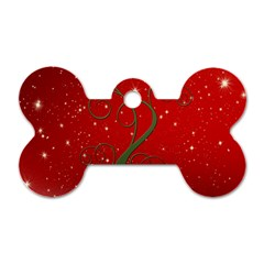 Christmas Modern Day Snow Star Red Dog Tag Bone (Two Sides)