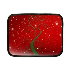 Christmas Modern Day Snow Star Red Netbook Case (Small)