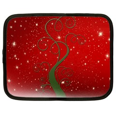 Christmas Modern Day Snow Star Red Netbook Case (large)
