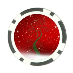 Christmas Modern Day Snow Star Red Poker Chip Card Guard (10 pack)