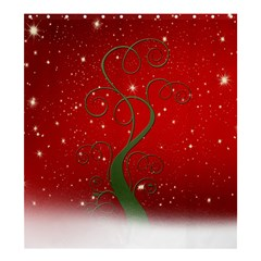 Christmas Modern Day Snow Star Red Shower Curtain 66  x 72  (Large)
