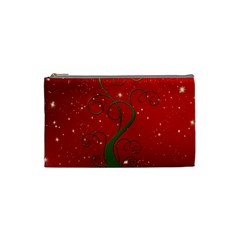 Christmas Modern Day Snow Star Red Cosmetic Bag (Small)