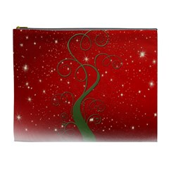 Christmas Modern Day Snow Star Red Cosmetic Bag (XL)
