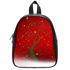Christmas Modern Day Snow Star Red School Bags (Small)