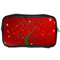 Christmas Modern Day Snow Star Red Toiletries Bags