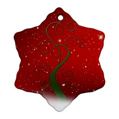 Christmas Modern Day Snow Star Red Snowflake Ornament (Two Sides)