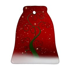Christmas Modern Day Snow Star Red Bell Ornament (two Sides)