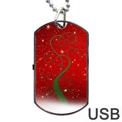 Christmas Modern Day Snow Star Red Dog Tag Usb Flash (two Sides)