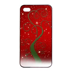 Christmas Modern Day Snow Star Red Apple iPhone 4/4s Seamless Case (Black)