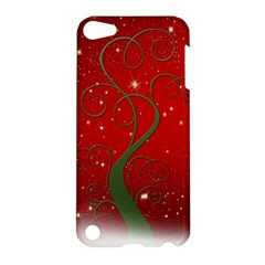 Christmas Modern Day Snow Star Red Apple iPod Touch 5 Hardshell Case