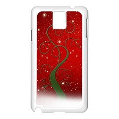 Christmas Modern Day Snow Star Red Samsung Galaxy Note 3 N9005 Case (White)