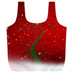 Christmas Modern Day Snow Star Red Full Print Recycle Bags (L)