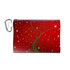 Christmas Modern Day Snow Star Red Canvas Cosmetic Bag (m)