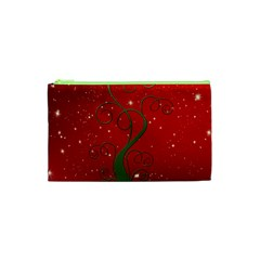 Christmas Modern Day Snow Star Red Cosmetic Bag (xs)