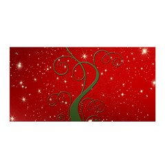 Christmas Modern Day Snow Star Red Satin Wrap
