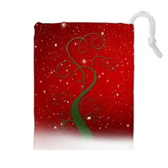 Christmas Modern Day Snow Star Red Drawstring Pouches (extra Large)
