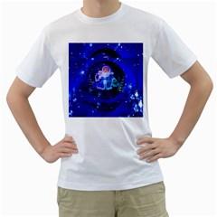 Christmas Nicholas Ball Men s T-Shirt (White) (Two Sided)
