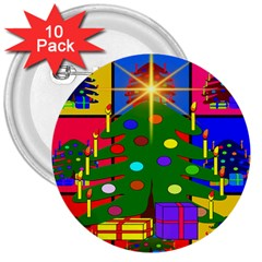 Christmas Ornaments Advent Ball 3  Buttons (10 pack)