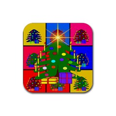 Christmas Ornaments Advent Ball Rubber Coaster (square)