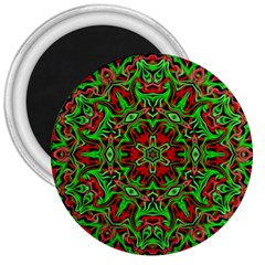 Christmas Kaleidoscope Pattern 3  Magnets