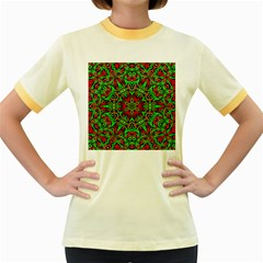 Christmas Kaleidoscope Pattern Women s Fitted Ringer T-Shirts