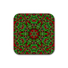 Christmas Kaleidoscope Pattern Rubber Square Coaster (4 pack)