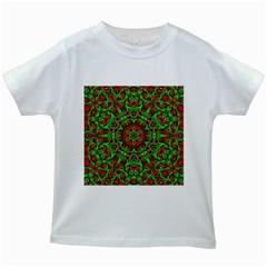 Christmas Kaleidoscope Pattern Kids White T-Shirts