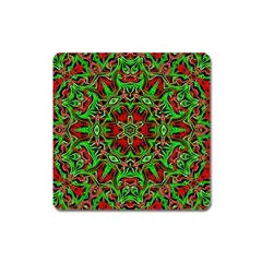 Christmas Kaleidoscope Pattern Square Magnet