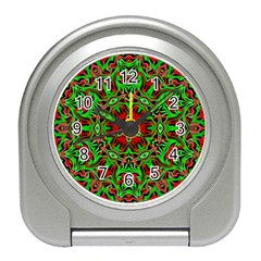 Christmas Kaleidoscope Pattern Travel Alarm Clocks