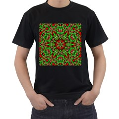 Christmas Kaleidoscope Pattern Men s T-Shirt (Black) (Two Sided)
