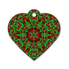 Christmas Kaleidoscope Pattern Dog Tag Heart (One Side)