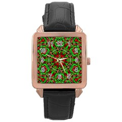 Christmas Kaleidoscope Pattern Rose Gold Leather Watch