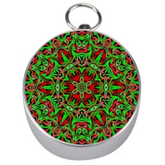 Christmas Kaleidoscope Pattern Silver Compasses