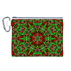 Christmas Kaleidoscope Pattern Canvas Cosmetic Bag (L)