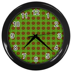 Christmas Paper Wrapping Patterns Wall Clocks (Black)