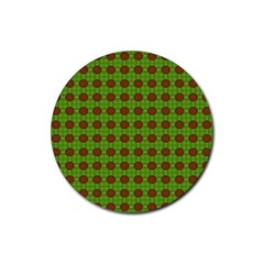 Christmas Paper Wrapping Patterns Rubber Coaster (Round)