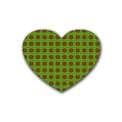 Christmas Paper Wrapping Patterns Rubber Coaster (Heart)