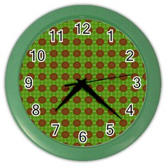 Christmas Paper Wrapping Patterns Color Wall Clocks