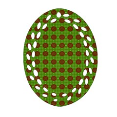 Christmas Paper Wrapping Patterns Oval Filigree Ornament (Two Sides)
