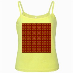 Christmas Paper Pattern Yellow Spaghetti Tank