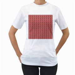 Christmas Paper Wrapping Pattern Women s T Shirt (white) (two Sided)