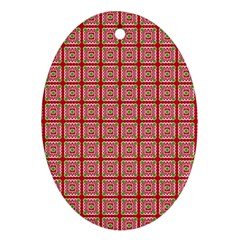 Christmas Paper Wrapping Pattern Oval Ornament (Two Sides)