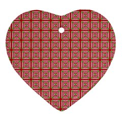 Christmas Paper Wrapping Pattern Heart Ornament (Two Sides)