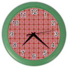 Christmas Paper Wrapping Pattern Color Wall Clocks