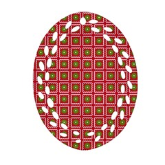 Christmas Paper Wrapping Oval Filigree Ornament (Two Sides)