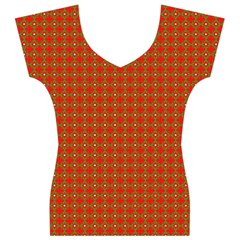 Christmas Paper Wrapping Paper Pattern Women s V-Neck Cap Sleeve Top